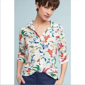 Anthropologie Maeve Potala Bird Print Silk Shirt